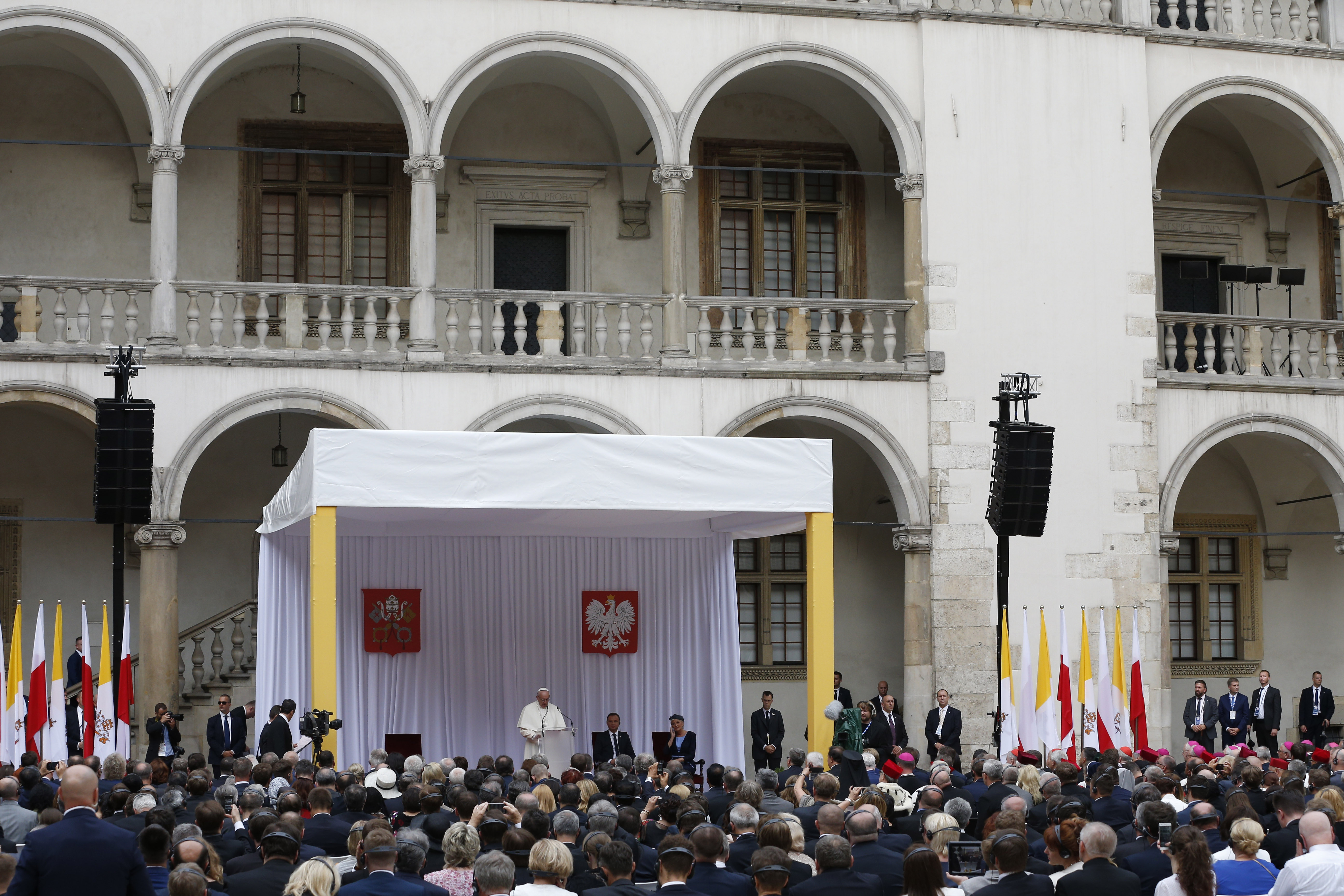 Pope Francis speaking at Wawel Royal Castle