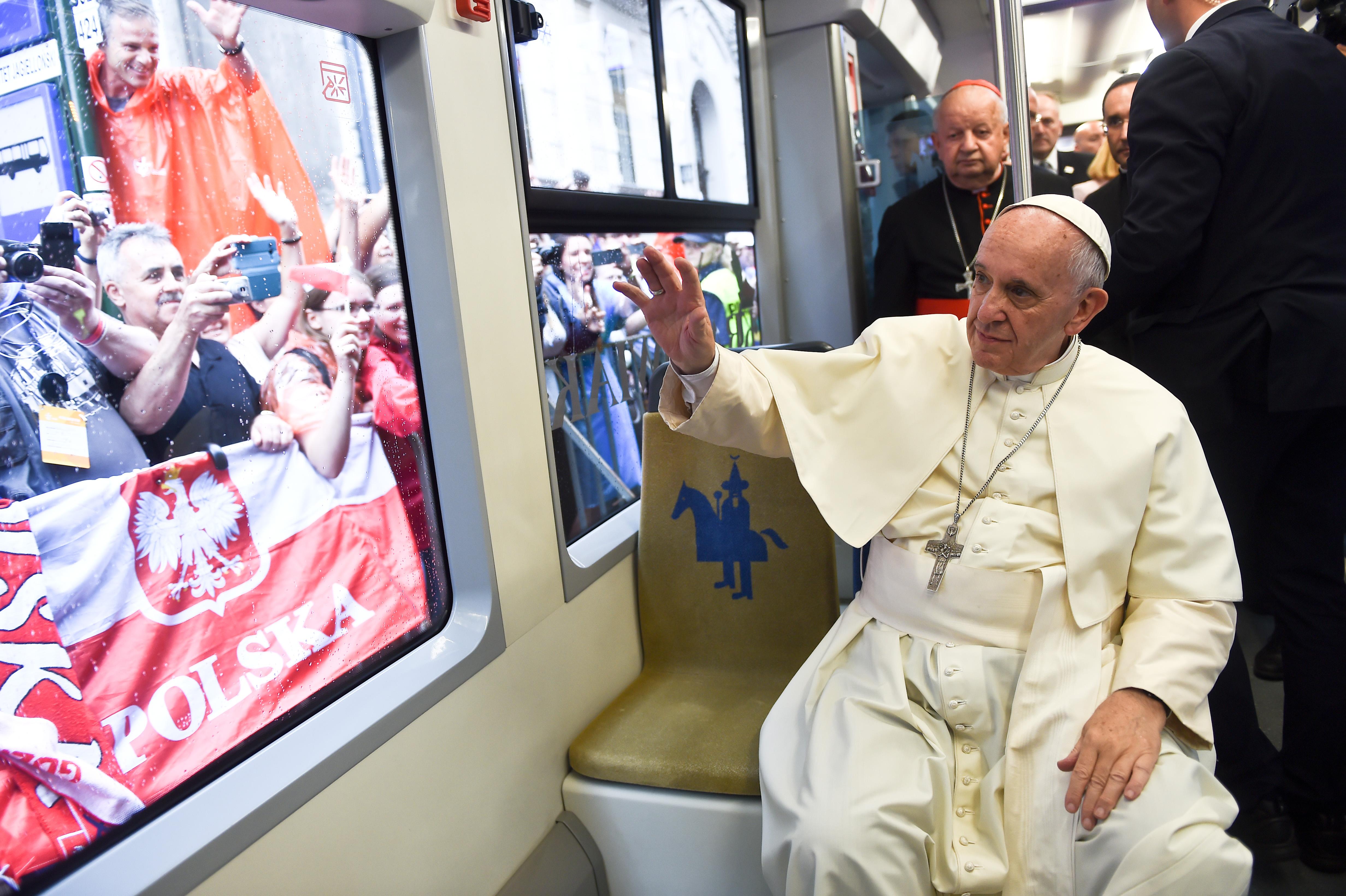 Pope in tram