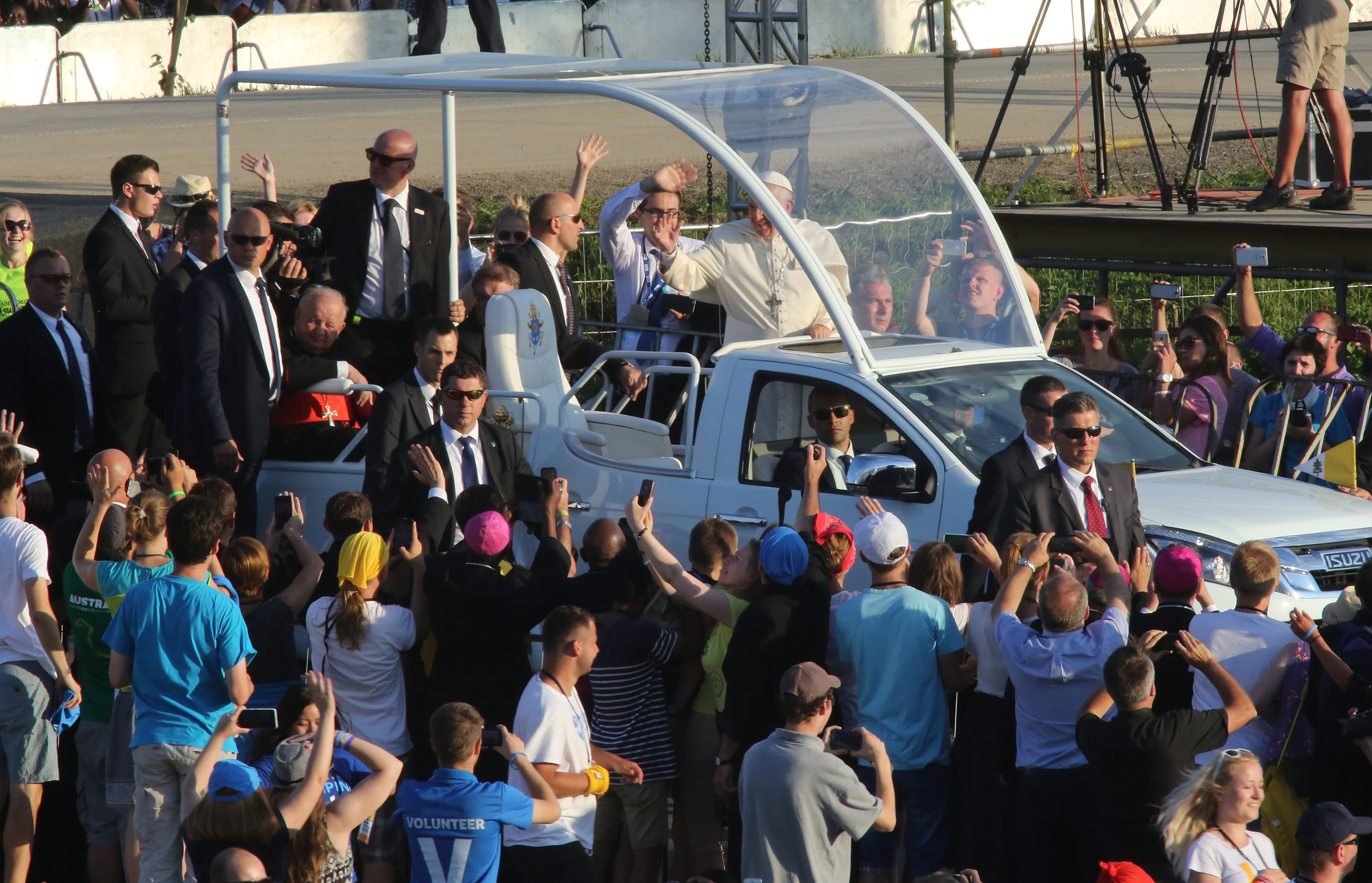 Pope Francis arrives