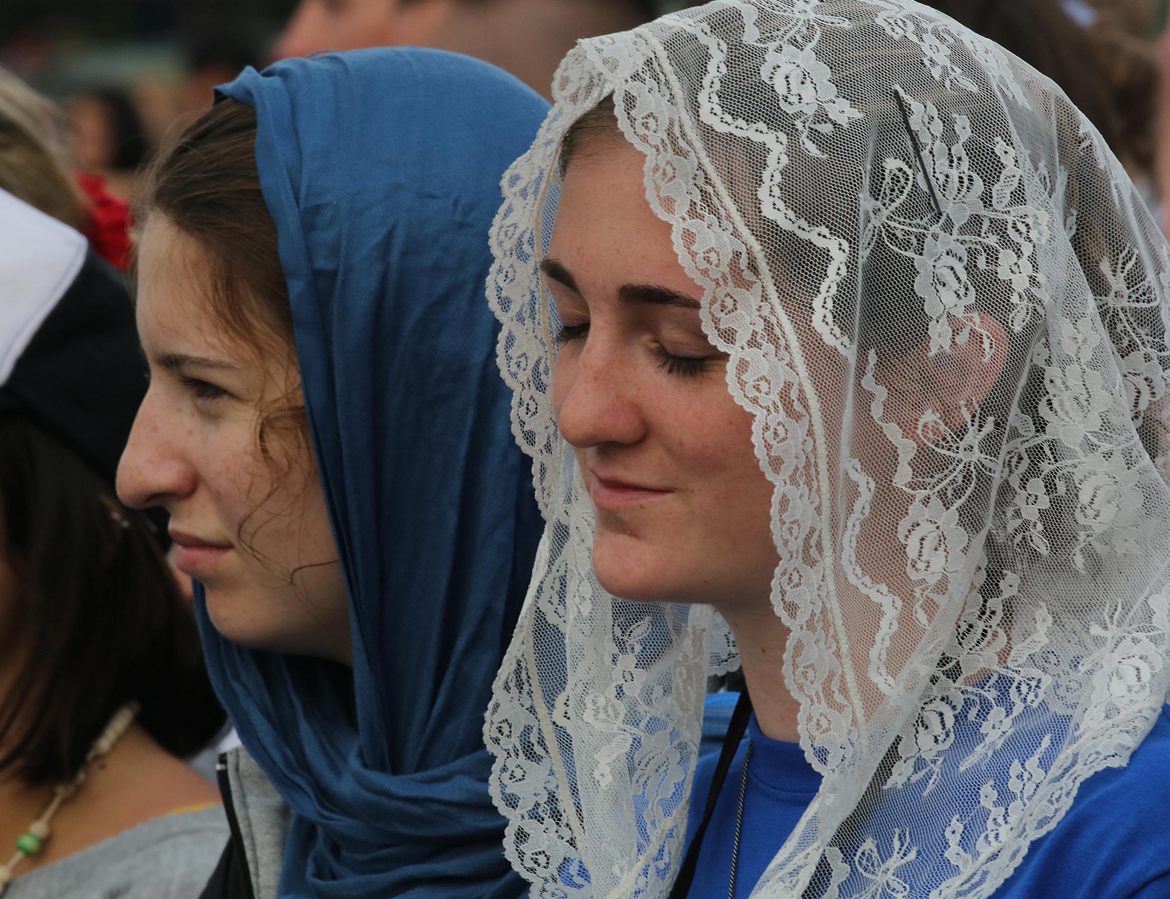 Praying pilgrims