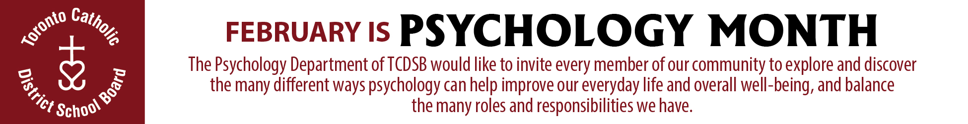 TCDSB February Psychology Month 2019