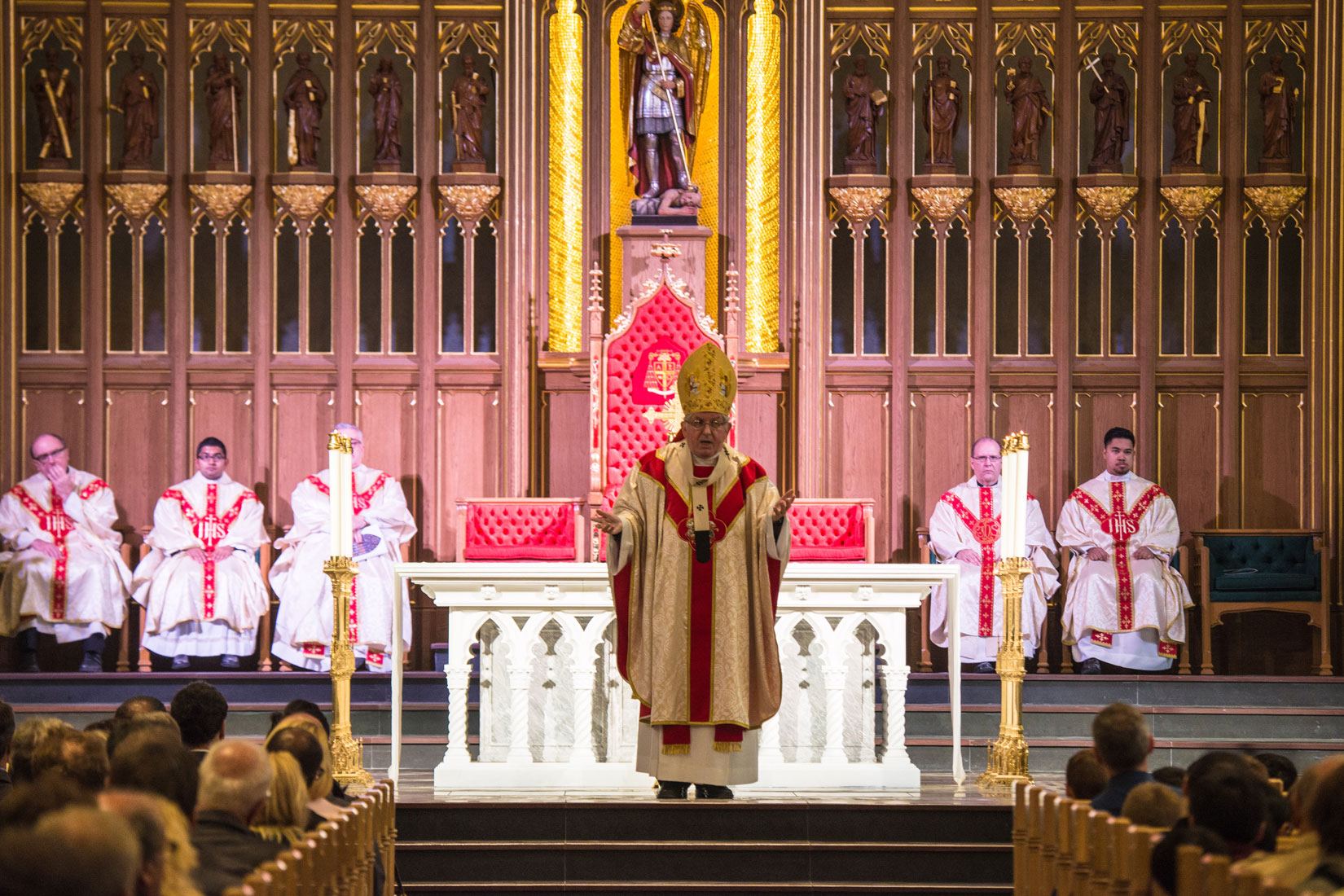 Cardinal Collins preaching at the workers' thanksgiving Mass at St. Michael's Cathedral Sept. 30. (Photo by Michael Swan)