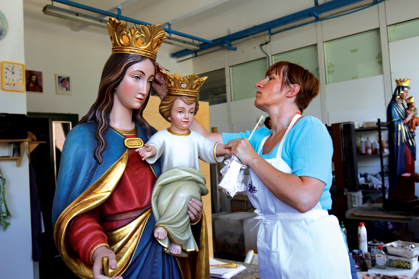 World-renowned artisans in Val Gardena, Italy, were commissioned to create several new statues for the cathedral. (Photo courtesy of Concrete Pictures Inc.)