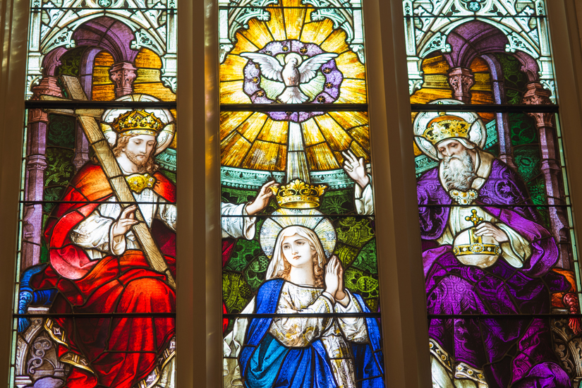 All the cathedral's stained-glass windows were painstakingly restored, including this window depicting the Crowning of Mary. (Photo by Michael Swan)