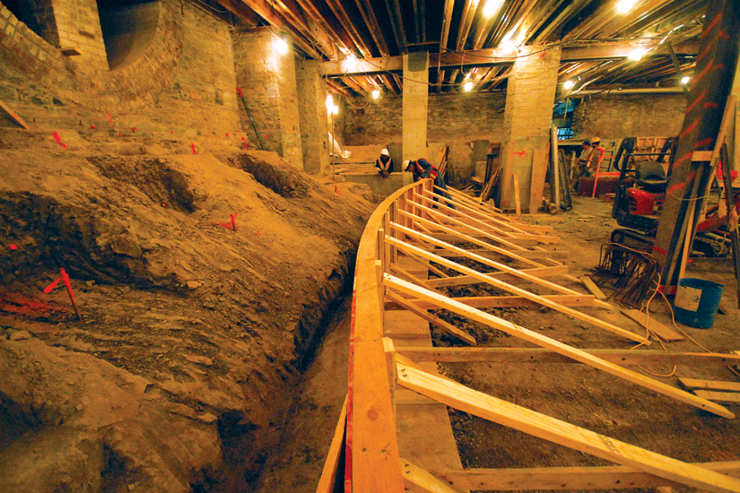 The first step in the massive St. Michael's renovation involved digging a new basement and installing new underpinning for the cathedral. (Photo courretsy of Concrete Pictures Inc.)