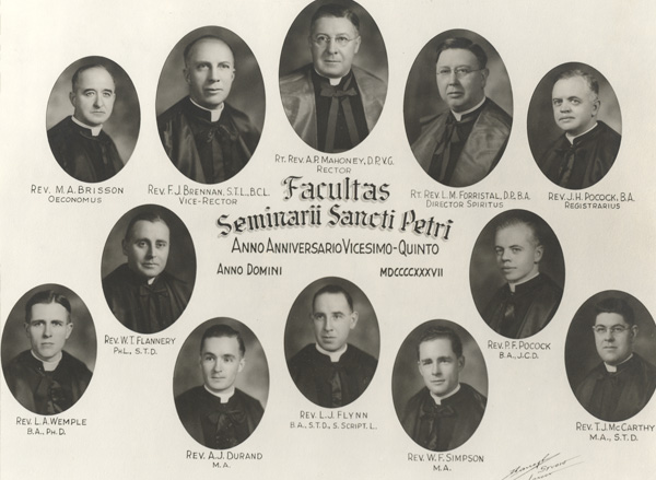 St. Peter's Seminary's class of 1937 included among its members Fr. Philip Pocock, second row far right, who would go on to become archbishop of Toronto. He is one of 23 alumni who went on to the episcopacy.