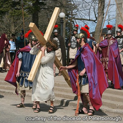 The diocese of Peterborough's seventh annual Way of the Cross will take place on Good Friday. Above, an actor portraying Jesus carries the Cross surrounded by Roman soldiers during a previous walk.