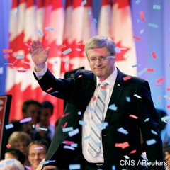 Conservative Party leader and Canadian Prime Minister Stephen Harper scored a goal that had long eluded him, leading the Conservatives to the majority government he had failed to obtain in the last t hree elections. (CNS photo/Andy Clark, Reuters)