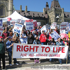 The annual March for Life in Ottawa on May 12 could be affected by the Alberta bishops' decision to not take part in the Edmonton version of the march the same day. (Photo by Deborah Gyapong)