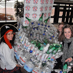 Students from Cardinal Carter Academy for the Arts hold their pirate ship made from plastic water bottles during a rally held on Bottled Water-Free Day at the Catholic Education Centre in March. From left to right, Ann Blennerhassett, Clare Wheeler and Madeline Della Mora. (Photo by Vanessa Santilli)