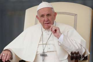 Pope Francis looks on during his general audience in St. Peter's Square at the Vatican Oct. 17.