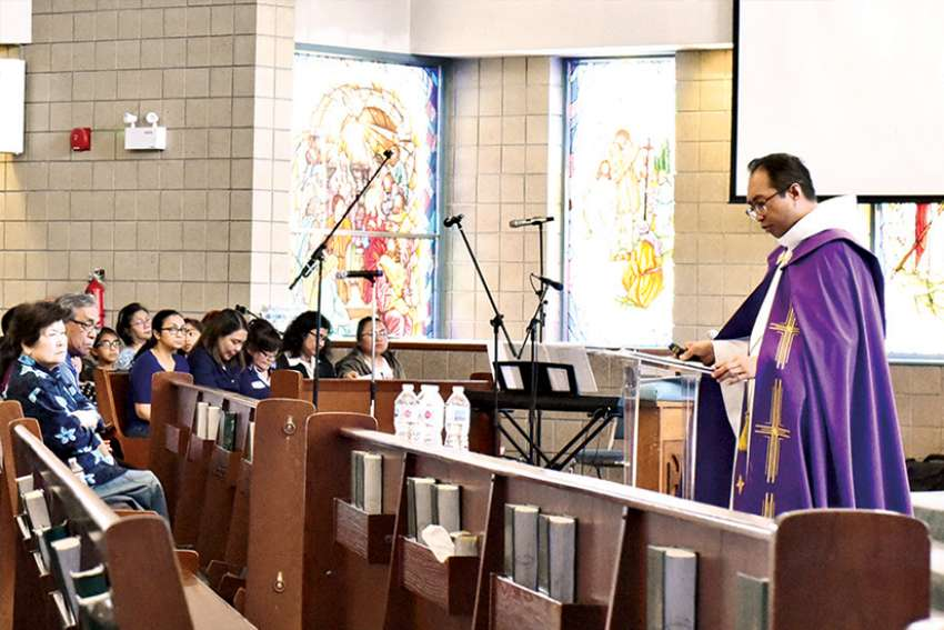Fr. Carlos Macatangga said in order to live the newness of Easter, we must carry the lessons of Lent and the story of Jesus' Passion.