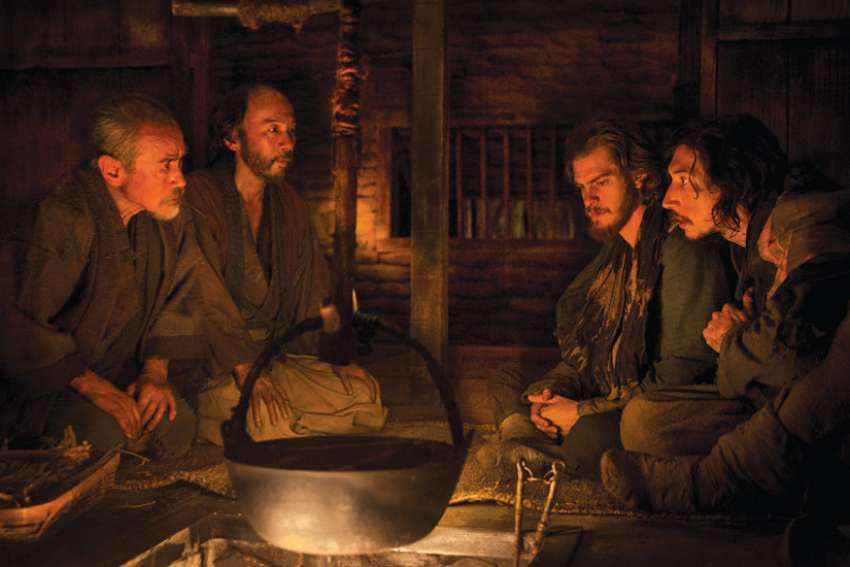 Andrew Garfield, second from right, plays Fr. Rodrigues and Adam Driver, far right, plays Fr. Garupe.