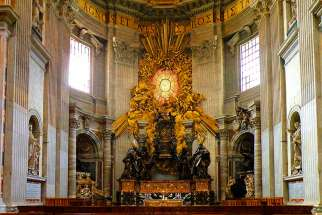 The Chair of St. Peter in St. Peter's Basilica features the bronze work of Gian Lorenzo Bernini.