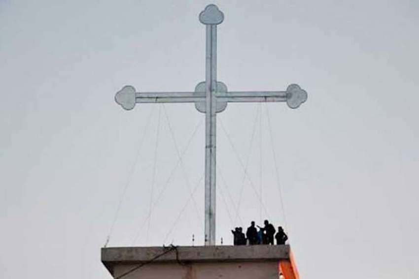 A large cross was erected at Telekuf-Tesqopa near Mosul, Iraq where intense battles to liberate ISIS had occurred.