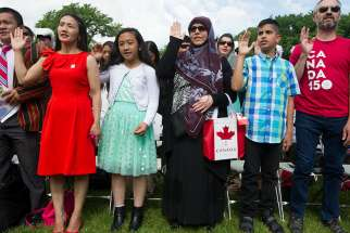 Canada Day citizenship ceremony on the Alberta legislature grounds in Edmonton on Saturday, July 1, 2017.