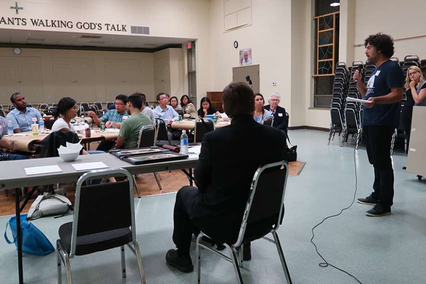 Young adults in the Archdiocese of Toronto participate at a pre-synod discussion with Bishop Wayne Kirkpatrick on Sep. 13, 2017.