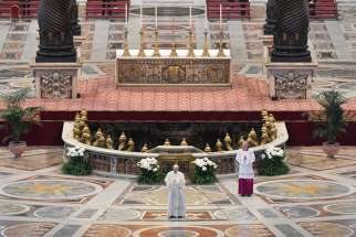"Pope Francis delivers his Easter message ""urbi et orbi"" (to the city and the world) after celebrating Easter Mass in St. Peter's Basilica at the Vatican April 12, 2020. The Mass was celebrated without the presence of the public due to the coronavirus pandemic."