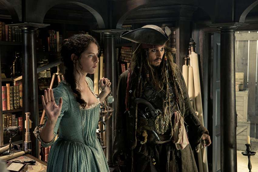 Kaya Scodelario and Johnny Depp star in a scene from the movie 'Pirates of the Caribbean: Dead Men Tell No Tales.'