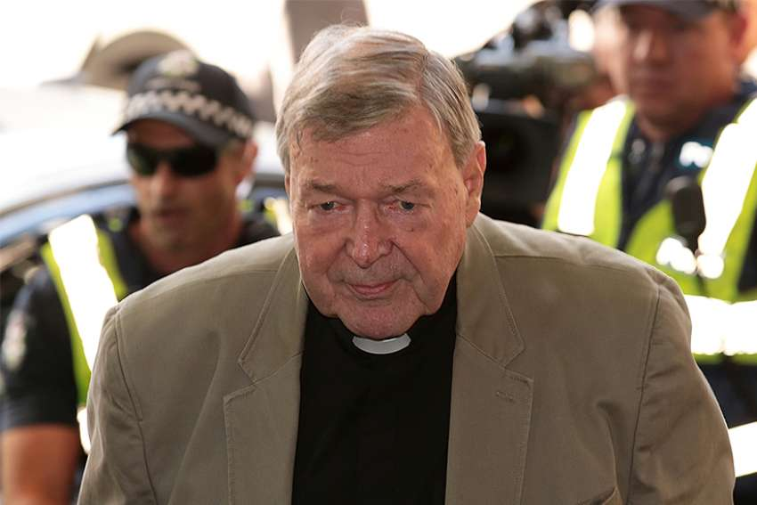 Australian Cardinal George Pell departs the Melbourne Magistrates' Court March 5 in Melbourne.
