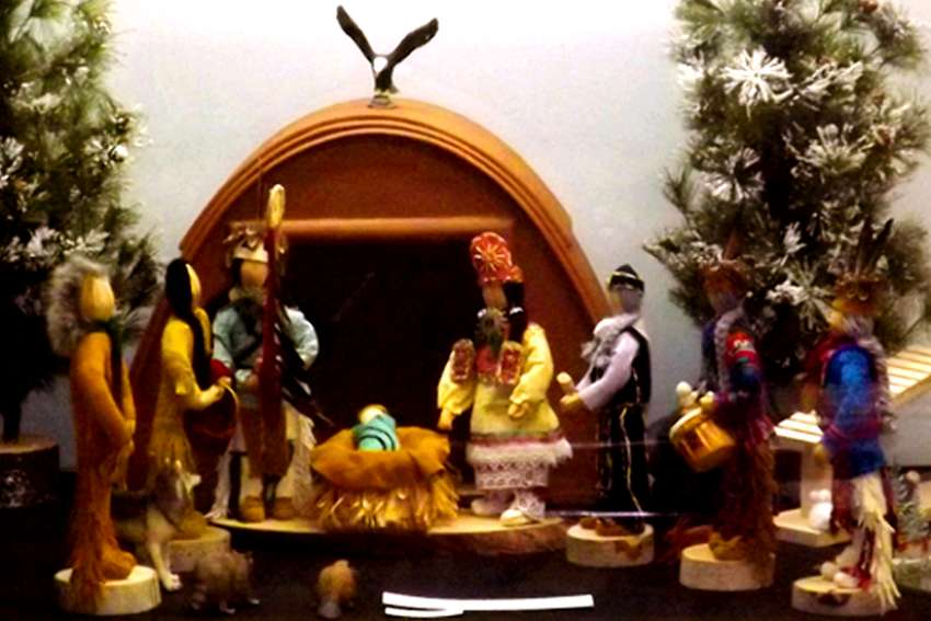 An indigenous creche scene. Nancy Mallett has been collecting creches from all over the world for an annual exhibit.