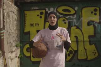 Indira Kaljo, a Bosnian-American professional basketball player, as seen in her video promoting a petition to allow hijab during FIBA competitions.