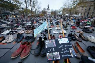 Pairs of shoes are symbolically placed on the Place de la Republique in Paris Nov. 29, ahead of the U.N. climate change conference, known as the COP21 summit, in Paris.