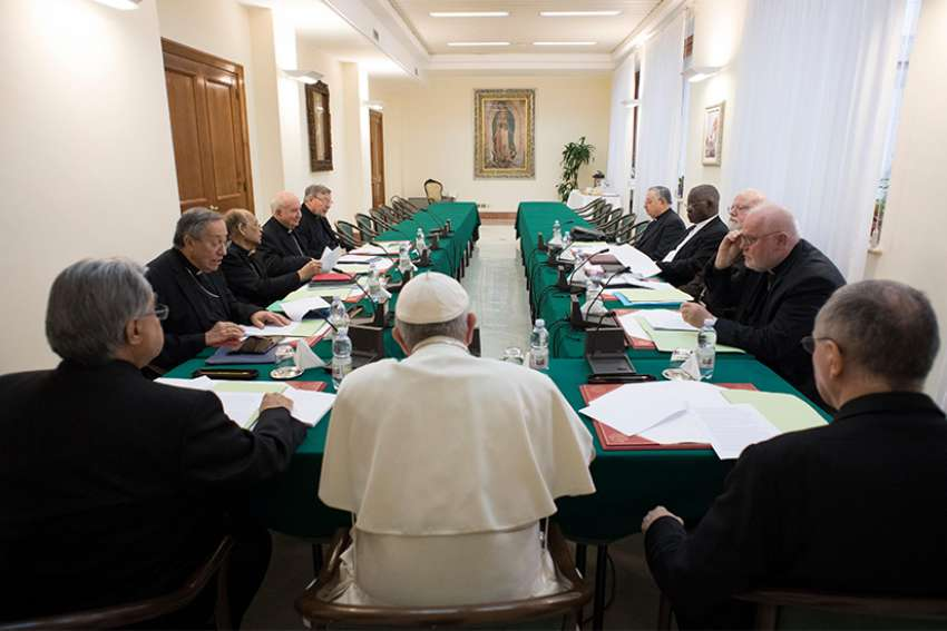 Pope Francis leads the 18th meeting of his Council of Cardinals at the Vatican Feb. 13, 2017.