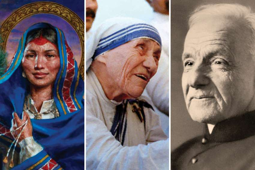 On Nov. 1, All Saints' Day, we celebrate saints like (from left) St. Kateri Tekakwitha, Mother Teresa and Canada's own St. Brother André Bessette. We can only hope to emulate their faithfulness in our own lives, says Fr. Yaw Acheampong.