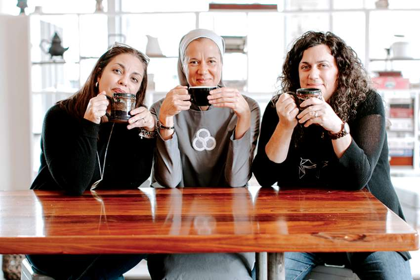 Heather Khym, right, and friends Michelle Benzinger and Sr. Miriam Heidland created Abiding Together, a weekly podcast reaching two million downloads in just two years.