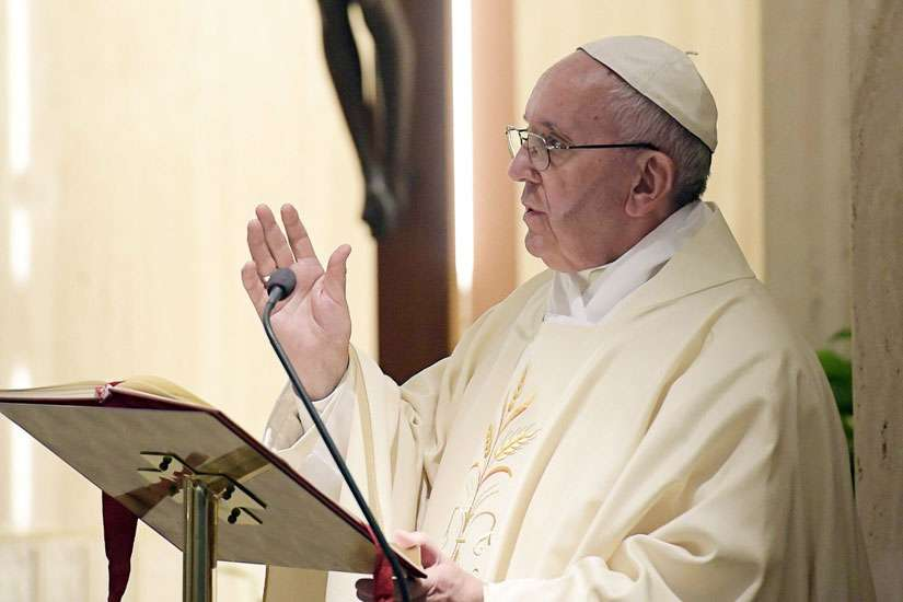 Pope Francis delivers his homily during Mass Sept. 27 in the chapel of the Domus Sanctae Marthae at the Vatican.