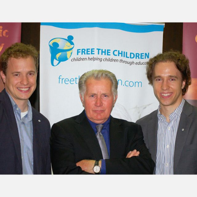 Marc Kielburger, Martin Sheen and Craig Kielburger at a May 28 event where Sheen reaffirmed his commitment to Free the Children, founded by the Kielburgers.
