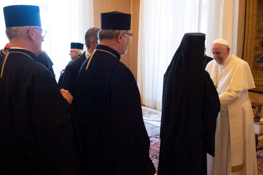 Pope Francis greets bishops from Eastern Catholic churches during a meeting at the Vatican Sept. 14, 2019. Meeting some 40 bishops serving in Europe, the pope praised them for their fidelity to Rome and encouraged them to be more active in seeking Christian unity.