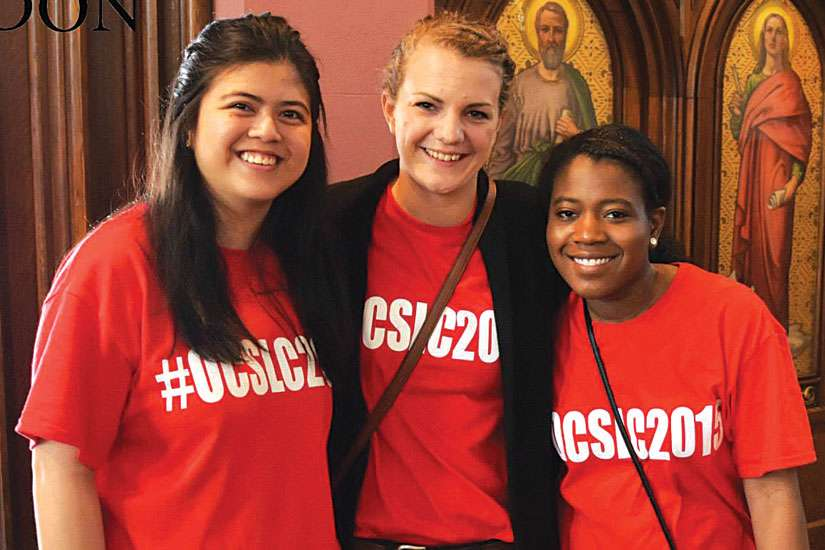 Chanelle Robinson, right, poses with fellow OCSLC volunteers, Sophia Mutuc, left, and Natalie Rosedale, middle.