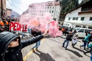 PHOTO: People demonstrate against the Austrian government's planned re-introduction of border controls at the Brenner Pass April 24. Bishop Agidius Zsfikovics of Eisenstadt has refused to allow an anti-refugee border fence across land belonging to his diocese, saying the government-backed move violates Christian values.