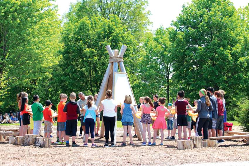 An outdoor classroom, this one with an Indigenous theme, has been built amid the green space at St. Nicholas Catholic Elementary School in Newmarket.