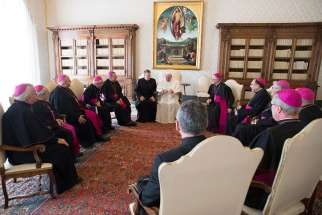 "Pope Francis meets with 10 bishops of Canada's Atlantic region March 16 during their ""ad limina"" visits to the Vatican."