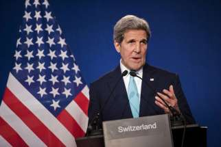 "U.S. Secretary of State John Kerry speaks to the press April 2 in Lausanne, Switzerland, following talks with Iran about its nuclear program. Adopting a framework for Iran's nuclear program is important step toward ""a peaceful resolution of serious ques tions that have been raised regarding Iran's nuclear program,"" said the chairman of the U.S. bishops' Committee on International Justice and Peace."