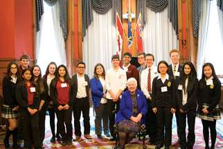 Student representatives at the Catholic Education Lobby Day with Lt.-Gov. Elizabeth Dowdeswell.