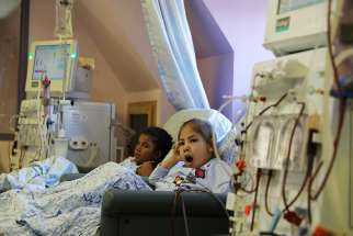 Palestinian children receiving treatment are seen in early September at Augusta Victoria Hospital in East Jerusalem.
