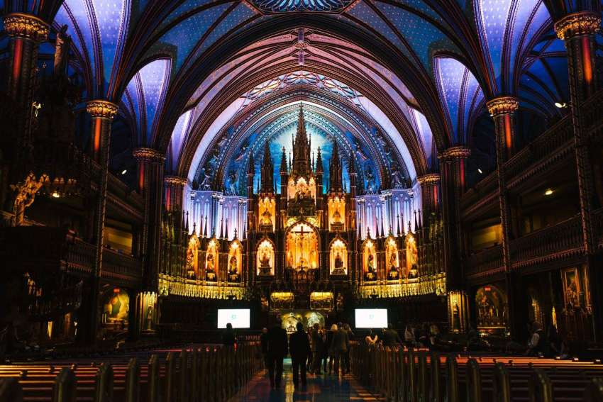 The ceiling of Montreal's Notre Dame Basilica turns into a multi-coloured, multimedia landscape during the Aura experience that begins March 20.
