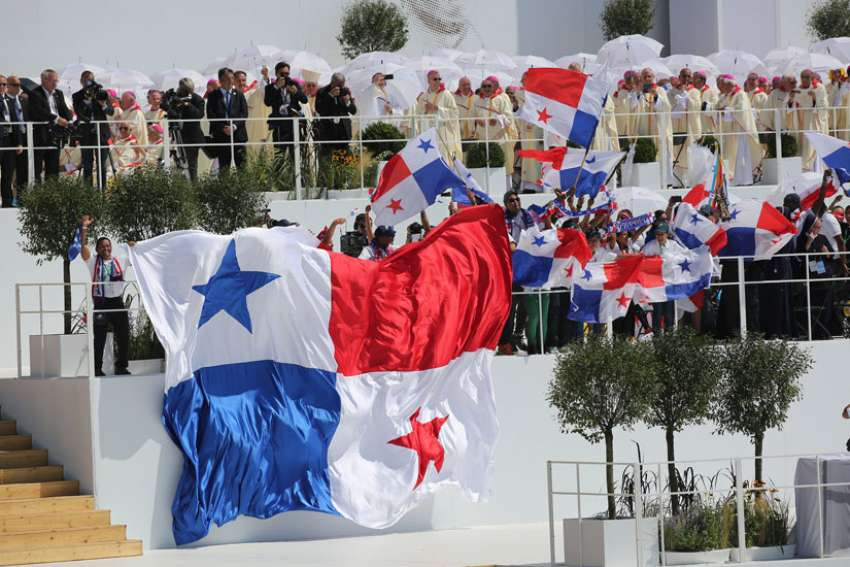 Panamanian flags are seen at World Youth Day 2016's closing Mass in Krakow, Poland. The 2019 WYD in Panama will take place in January, rather than the usual time of July.