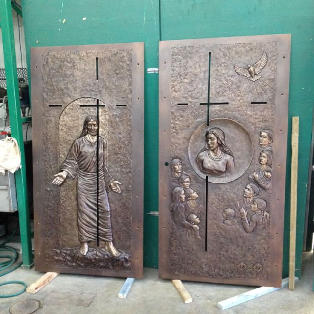 The front and back of the Holy Door to be installed at la Basilique-cathedrale- Notre-Dame de Quebec.