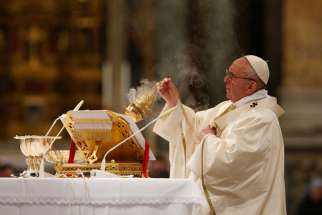 Pope Francis uses incense as he celebrates a Mass marking the closing of the Dominican order's 800th anniversary celebrations at the Basilica of St. John Lateran in Rome Jan. 21.