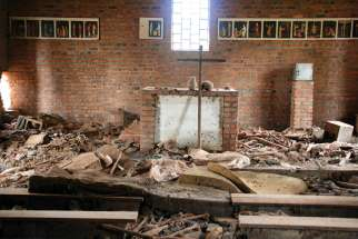 The altar of Ntarama Church, where more than 5,000 people were massacred.
