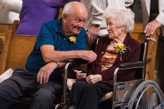 Husband and wife celebrate their 70th wedding anniversary at a Wisconsin parish last October.