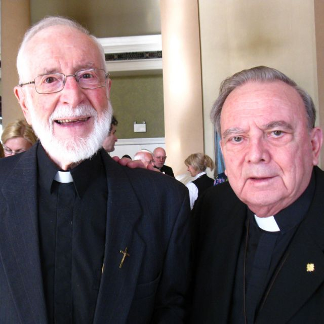 Father Joseph Baril, left, a travelling missionary from the diocese of Amos, Quebec, with Archbishop emeritus Peter Sutton of Keewatin-Le Pas at the annual Tastes of Heaven Gala April 19.