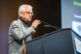 Veerabhadran Ramanathan speaks on solutions to climate change during a Nov. 16 lecture at Villanova University in Philadelphia.