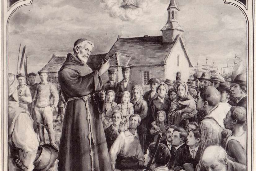 Blessed Frederic Janssoone is depicted addressing a crowd outside Our Lady of the Cape Shrine in Trois-Rivieres, Quebec, in undated artwork by J. Lacoste.