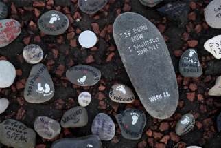 Stones placed by pro-life supporters are part of a silent demonstration Nov. 30, 2019, in Belfast, Northern Ireland. The Catholic bishops of Northern Ireland have asked the U.K. government to include a mandatory waiting period for women who request abortions under a new law.